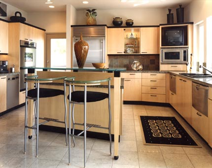 Contemporary kitchen - light cabinetry with tile floors